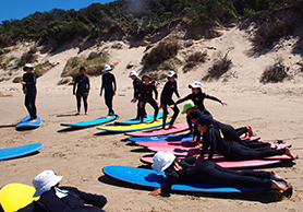 boys and girls surfing