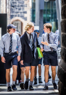 Melbourne Grammar School boys walking to class